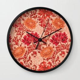 William Morris Chrysanthemums, Coral Orange Wall Clock