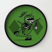 power ranger Wall Clocks featuring power ranger smith. by dann matthews