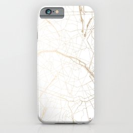 Paris Gold and White Street Map iPhone Case