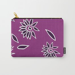 Dark Purple Falling Flora Pattern 2 Carry-All Pouch