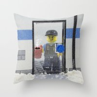 police Throw Pillows featuring Police Officer by Pedro Nogueira