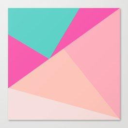 Pastel pink turquoise modern geometric color block pattern Canvas Print