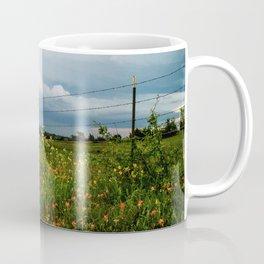 Texas Wildflowers - Retro Style Art of Flowers Along Fenceline Coffee Mug