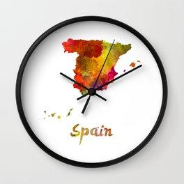 Spain in watercolor Wall Clock