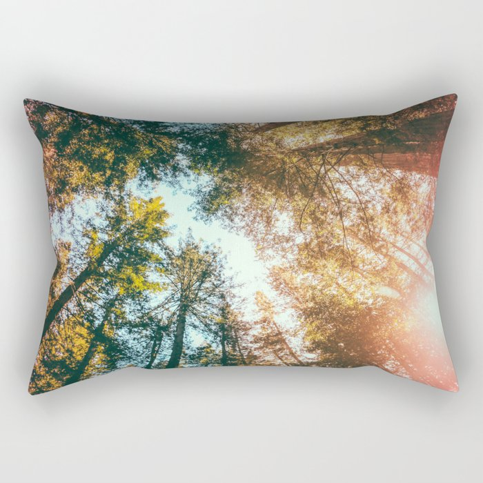 California Redwoods Sun-rays and Sky Rectangular Pillow