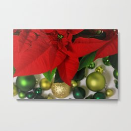 Red Poinsettia Flower with Golden and Green Christmas Balls Metal Print