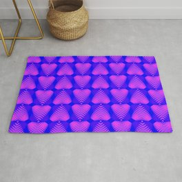 Purple hearts with stripes on the eggplant background. Rug