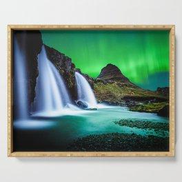 Aurora Borealis Waterfall Serving Tray