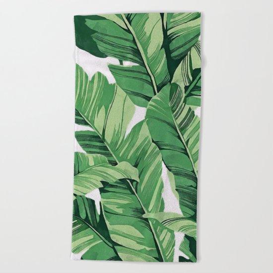 Tropical banana leaves V Beach Towel
