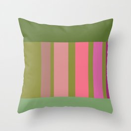 Green and pink color story Throw Pillow
