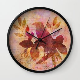 Bird and Leaf Illustration in warm colors Wall Clock