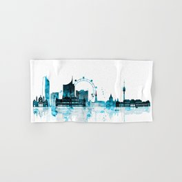 Vienna Austria Monochrome Blue Skyline Hand & Bath Towel