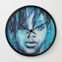 rihanna Wall Clocks featuring Rihanna by Nechifor Ionut