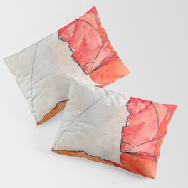Egon Schiele Kneeling Female In Orange Red Dress 1910 Pillow Sham