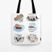 twin peaks Tote Bags featuring // twin peaks // by // PIGEON //