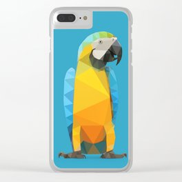 Low Poly Blue and Gold Macaw Clear iPhone Case