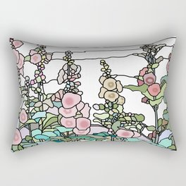 flowers and leaves on white background Rectangular Pillow