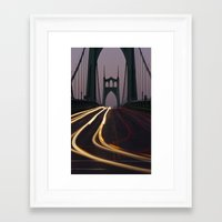 marc johns Framed Art Prints featuring St. Johns Bridge II by Cameron Booth