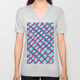 geometric pixel square pattern abstract background in blue pink Unisex V-Neck