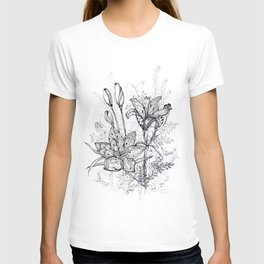 Bouquet of flowers lilies graphic T-shirt