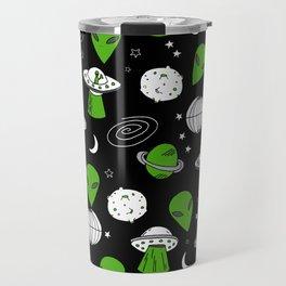 Alien outer space cute aliens french fries rad sodas pattern print black Travel Mug