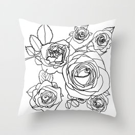 Feminine and Romantic Rose Pattern Line Work Illustration Throw Pillow