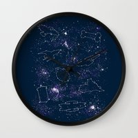 ships Wall Clocks featuring Star Ships by Mandrie