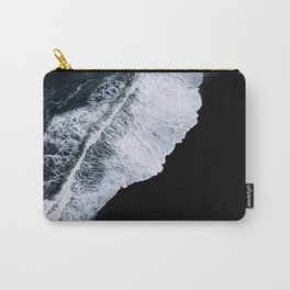 Waves crashing on a black sand beach – minimalist Landscape Photography Carry-All Pouch
