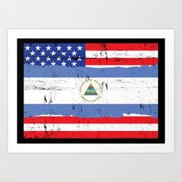 Nicaraguan American Flag Distressed Art Print