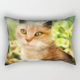 """Kitty in the sunlight field"" Rectangular Pillow"