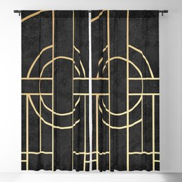 Art Deco Black Marble Blackout Curtain