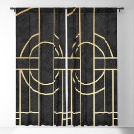Art Deco Black Marble Blackout Curtain