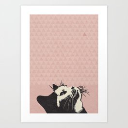 Cat on Pink - Lo Lah Studio Art Print