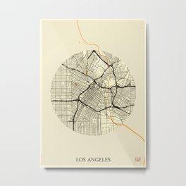 Los Angeles Map Moon Metal Print