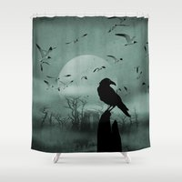 raven Shower Curtains featuring Raven by Tony Vazquez