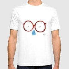 Glasses White Mens Fitted Tee MEDIUM
