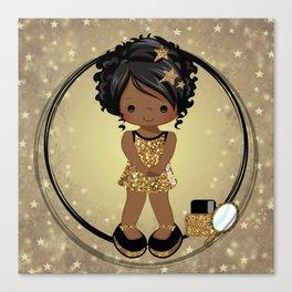 Sparkle | Black Girl Star | Black Girl Art| African-American Art Canvas Print