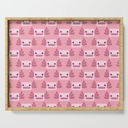 Cute Pastel Pink Axolotls Pattern Serving Tray