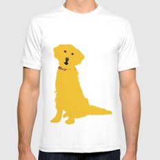 Golden Retriever  Dog White Mens Fitted Tee MEDIUM