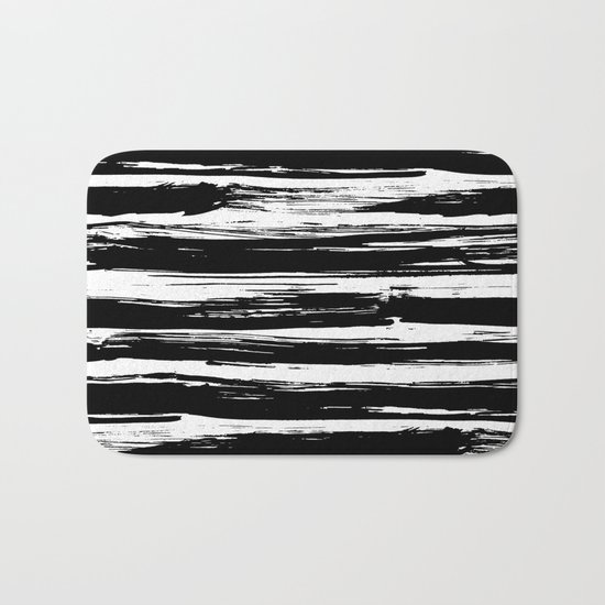 Paint Brush Stripes Black and White Bath Mat