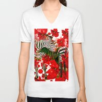 zebra V-neck T-shirts featuring Zebra by Saundra Myles