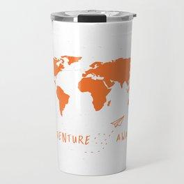Adventure Map - Retro Orange on White Travel Mug