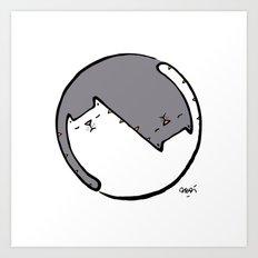 yin yang cat BW Art Print