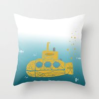submarine Throw Pillows featuring YELLOW SUBMARINE by ARCHIGRAF