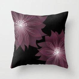 Burgundy flowers on black background . Throw Pillow