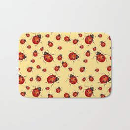 """""""I LOVE RED LADY BUGS"""" ON CREAM COLOR Bath Mat"""