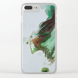 "Green Fluid Abstract Painting - Acrylic ""Third Times a Charm"" Clear iPhone Case"