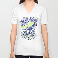 lime V-neck T-shirts featuring Owls – Navy & Lime by Cat Coquillette
