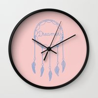 dreamer Wall Clocks featuring Dreamer by Mrs. Ciccoricco