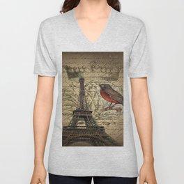 I love Paris Shabby chic Robin French Scripts Jubilee Crown Vintage Paris Eiffel Tower Unisex V-Neck